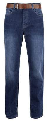 Dorothy Perkins Womens **Burton Mid Blue Logan Straight Fit Jeans, Blue