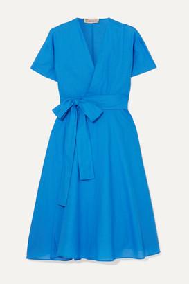 Esteban Cortazar Cotton Wrap Midi Dress - Blue