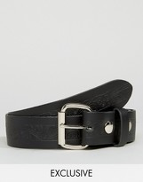 Reclaimed Vintage Inspired Embossed Leather Belt Black
