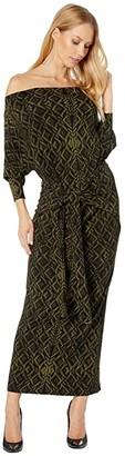 KAMALIKULTURE by Norma Kamali Four Sleeve Off-Shoulder Dress (Olive Sweater) Women's Dress