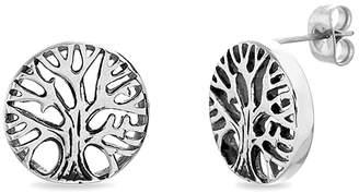 Bliss Women's Earrings Silvertone - Stainless Steel Tree of Life Stud Earrings