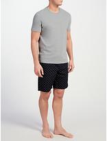 John Lewis T-shirt And Triangle Print Shorts Lounge Set, Grey/navy