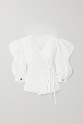 REJINA PYO Mia Linen And Cotton-blend Wrap Top - White