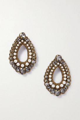 Etro Gold-tone, Felt, Crystal And Faux Pearl Clip Earrings - White