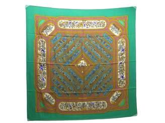 Hermes Carre 90 Green Cashmere Silk handkerchief