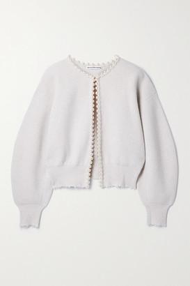 Alexander Wang - Faux Pearl-embellished Distressed Wool-blend Cardigan - Beige