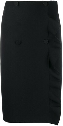 MSGM Double-Breasted Frilled Pencil Skirt