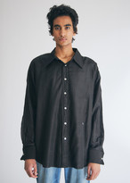 Our Legacy Men's Dancing Shirt in Black, Size 46 | Silk