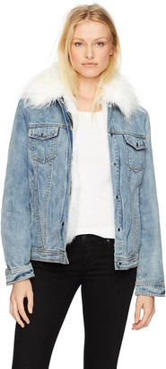 AVEC LES FILLES Women's Denim Trucker Jacket with Detachable Faux Fur Lining L