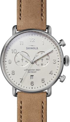 Shinola Men's 43mm Canfield 2-Eye Chronograph Leather Watch