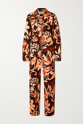 Dries Van Noten Floral-print Cotton-corduroy Jumpsuit - Black