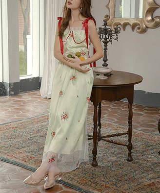Is Is Love Women's Maxi Dresses Green - Green Floral Sheer-Overlay Maxi Dress - Women