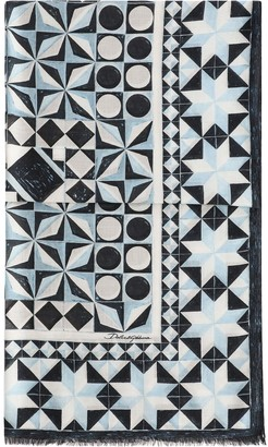 Dolce & Gabbana Geometric-Print Frayed-Edge Scarf