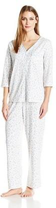 Karen Neuburger Women's Size Brushed Back Satin Long Zip Robe