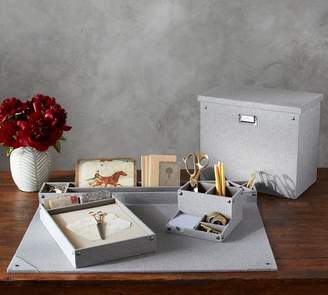 Pottery Barn Grey Blythe Linen Desk Accessories, Tall File Box