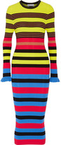 Opening Ceremony Striped Ribbed-knit Midi Dress - Azure