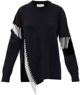 Christopher Kane Crystal-embellished Keyhole Wool Sweater - Black