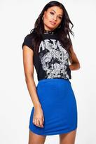 boohoo Heather Block Colour Curve Hem Mini Skirt cobalt