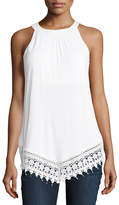 Neiman Marcus Lace-Trimmed Sleeveless Tank