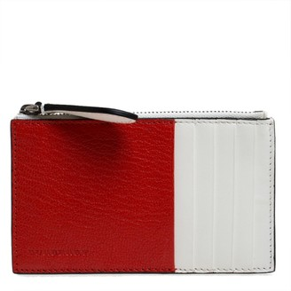 Burberry Red/White Leather Alwyn Zip Card Holder
