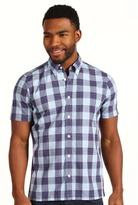Ben Sherman Laundered Buffalo Gingham S/S Shirt (Crown Blue) - Apparel
