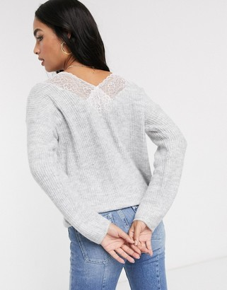 Vila oversized jumper with lace back detail
