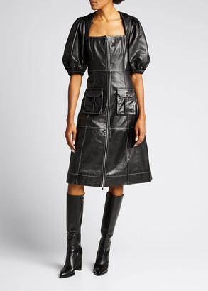 Ganni Zip-Front Paneled Lamb Leather Dress
