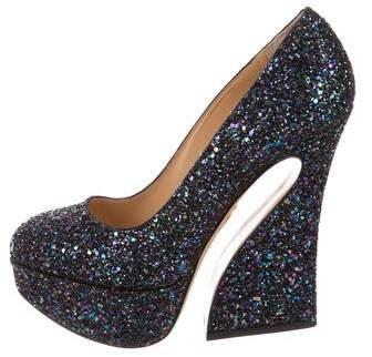 Charlotte Olympia Millicent Glitter Pumps w/ Tags
