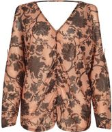 River Island Womens Orange mesh floral ruched batwing top