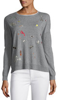 Joie Eloisa B Crewneck Long-Sleeve Sweater w/ Embroidery