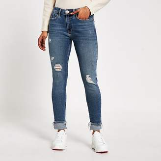 River Island Petite blue ripped Amelie super skinny jeans