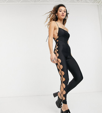 Motel unitard with lattice side detail in satin