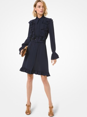 Michael Kors Collection Silk Georgette Ruffled Shirtdress