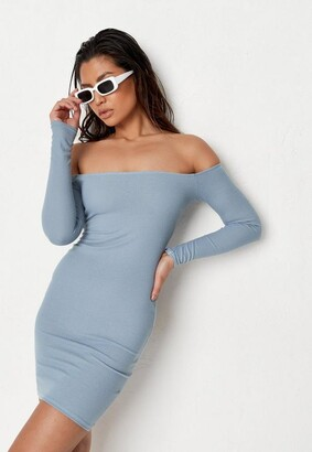 Missguided Recycled Blue Rib Bardot Mini Dress