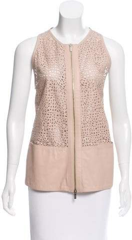 Armani Collezioni Laser Cut Leather Top