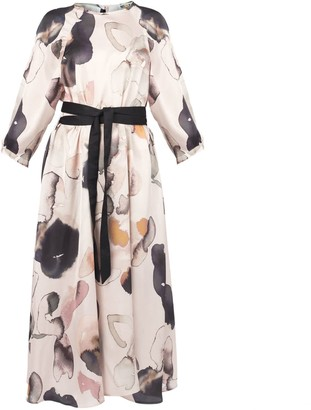 Muza Loose Fit Floral Print Belted Dress