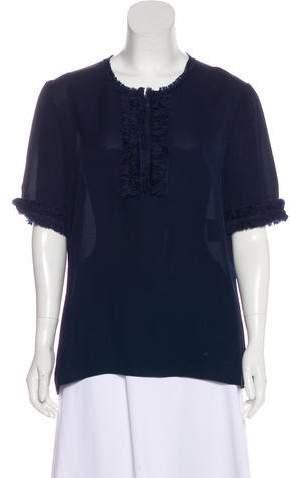 Andrew Gn Silk Short Sleeve Top