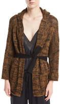 Brunello Cucinelli Open-Front Linen-Hemp Metallic Hooded Cardigan with Belt