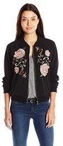 Democracy Women's Plus Size Floral Embroidered Bomber