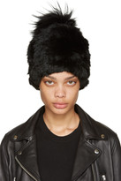 Yves Salomon Black Knit Fur Beanie
