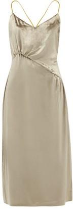 Ssone - Christie Gathered Velvet Midi Dress - Silver