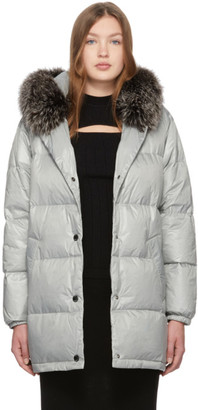 Yves Salomon Army Grey Down Oversized Puffer Jacket