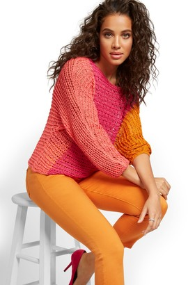 New York & Co. Colorblock Mixed Stitch Knit Sweater
