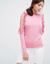Boohoo Ruffle Cold Shoulder Knit Sweater