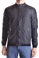 Daniele Alessandrini Men's Blue Leather Outerwear Jacket.