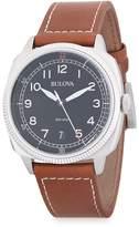 Bulova Men's Stainless Steel Analog Leather-Strap Watch