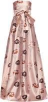 Rochas Strapless iris-print duchess-satin gown