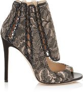 Jimmy Choo KIA 110 Ballet Pink Embroidered Lace and Black Suede Booties