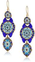 Miguel Ases Floral Center Swarovski Movable Tail Contrast Drop Earrings