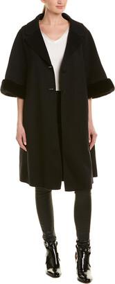 Fendi Cropped-Sleeve Wool Coat